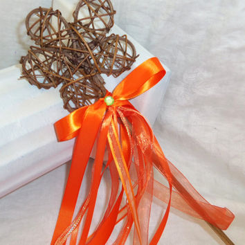 Flower Girl Wand Basket Alternative-Garden Theme Wedding Wand- Orange