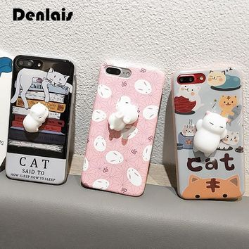 Phone Case For Samsung Galaxy S5 S6 S7 S7Edge S8 S8 Plus 3D Cute Soft Silicon Squishy Cat Fundas Cover Animal Rabbit Kitty Coque