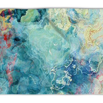 Abstract Art plush fleece throw, 50x60 and 60x80, coral fleece blanket in aqua and cream, Cool Cucumber