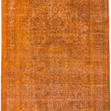 "9'4"" x 12'0"" Yellow Orange Saffron Turkish Overdyed Rug"