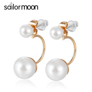 2016 new fashion gold plated double sided earring women jewelry pearl earring Party brincos aros cc stud earrings female