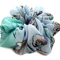 Blue Large Hair Scrunchie Designer Chiffon Accessories Pony Tail Holder