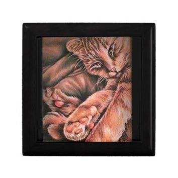 Orange Tabby Cat Drawing Curled Up Trinket Boxes