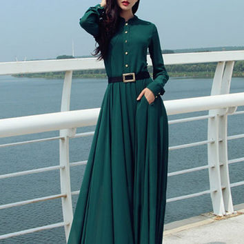 New Women Summer Sexy Dresses Long Sleeve Maxi Long Dress