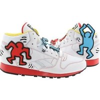 $180 Reebok x Keith Haring Men CL Leather Mid Lux (white / black / techy red / m