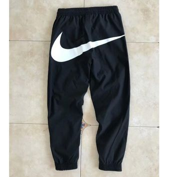 NIKE New Fashion Women Men Loose Sport Pants Casual big hook Sweatpants C-AA-XDD Black