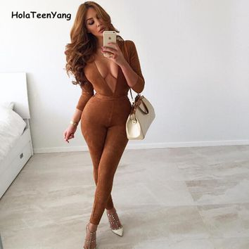 HolaTeenYang Brown Vintage Deep V Neck Suede Women Jumpsuit Sexy Office Elegant Ladies Overalls Bodycon Womens Jumpsuits Rompers