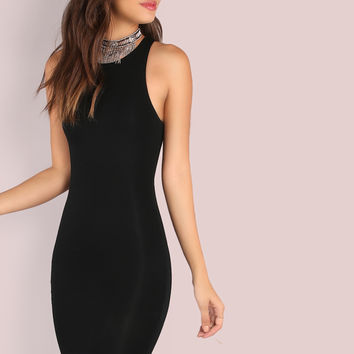 Black Racer Bodycon Dress
