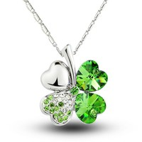 MagicPieces Clover Pendant Rhinestone Necklace Swarovski Element Heart Shape Color Green