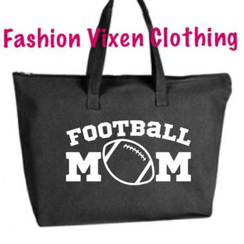 Football Mom Large Tote Bag with zipper closure - Game Day Bag, Purse, Gift Bag, Overnight Bag