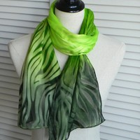 Green ombre silk scarf hand dyed on Devore satin silk, ready to ship, silk scarf #584