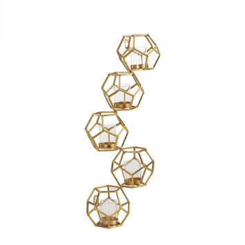 DanyaB Sparkling Gold Polyhedron Vertical Candle Wall Sconce