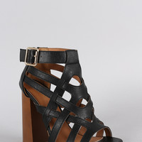 Qupid Caged Open Toe Seventies Slanted Heel