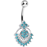 Teal Crystal Sparkling Victoriana Opera Fan Belly Ring | Body Candy Body Jewelry