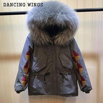 Womens Winter Thick Warm Hooded Down Jacket 100% Real Raccoon Fur Collar Embroidery Parka