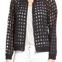 Halogen® Sheer Grid Bomber Jacket | Nordstrom