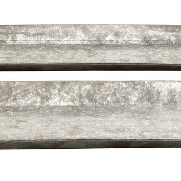 Decorative Metal Galvanized Trays - Set Of 2 -Benzara