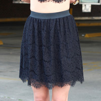Delicate Lace High Waist Skirt {Black}