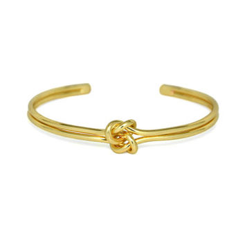 Gold Double Knot Cuff Bracelet, Infinity Love Knot Bracelet, Bridesmaid Bracelet, Gifts for Her