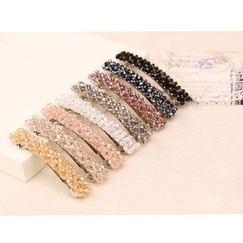 Female Sweet Girl Bling Crystal Rhinestone Headwear Barrette Hairpin Hairgrips Hair Grip Ornament Accessories For Woman