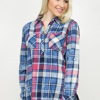 Acid Wash Flannel Pullover Top
