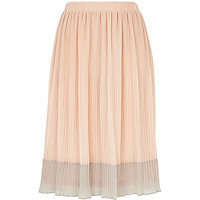 River Island Womens Beige two-tone pleated midi skirt