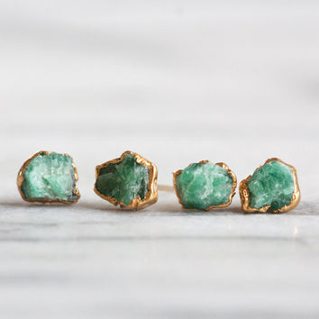 emerald earrings / emerald studs / raw emerald / rough emerald / natural emerald / gold emerald studs / emerald jewelry / green stone studs
