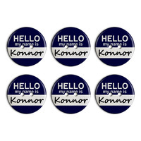 Konnor Hello My Name Is Plastic Resin Button Set of 6