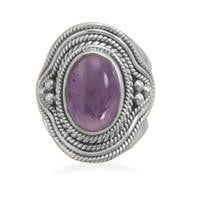 Amethyst Ring with Rope and Bead Design