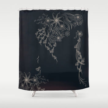 Shabby chic shower curtain, shower curtain vintage, rustic shower curtain, black bathroom decor, fabric shower curtain