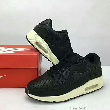Nike Air Max 90 air cushion cushion new autumn and winter half-cushion sports shoes F-XYXY-FTQ Black + white