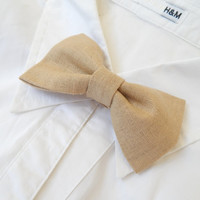 Wedding Bow Tie Pins in Beige Linen - Groom & Best Men Bow Pins - Page Boys  / Bridesmaid / Flower Girls Set of Bow Tie Pins