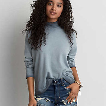 AEO Mock Neck Zipper Sweatshirt, Teal