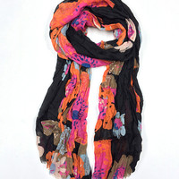 East Cloud Red & Black Floral Scarf | zulily