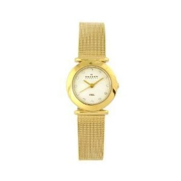 Skagen Women's 107SGGD Classic Swarovski Crystal Gold Tone Mesh White Dial Watch