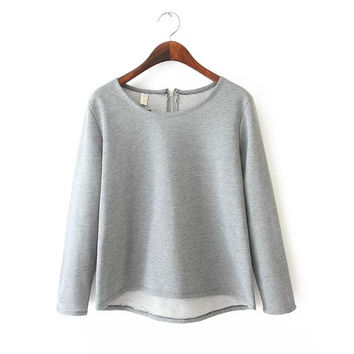 Summer Women's Fashion Cotton Long Sleeve Round-neck Zippers T-shirts [6047531777]