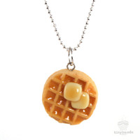 Scented Butter and Maple Syrup Waffle Necklace - Food Jewelry