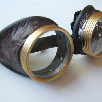 Steampunk Goggles Air Pirate Eyewear Steampunk Glasses-  Brass Colored Lenscaps Burning Steampunk man