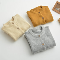 Plain Long-Sleeve button Knitted Cardigan