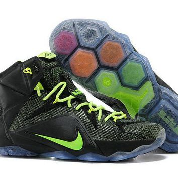 Factory Authentic 2018 Womens Lebron 12 PS Elite Carbon Black Electric Green 650884 003 Brand sneaker