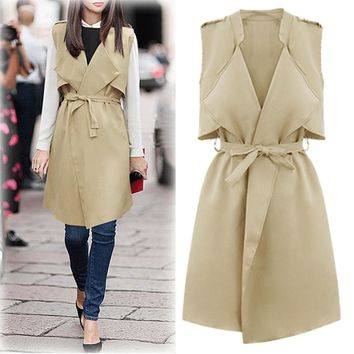 New Autumn Winter Brief Style Women Lapel Turn Down Collar Sleeveless All-match Sash Belt Overcoat Vest Waistcoat