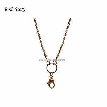Chocolate 316L stainless steel rolo chains for floating lockets, floating locket chains LFH_046