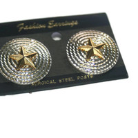 Silver Rope and Star Earrings, Vintage Western Earrings