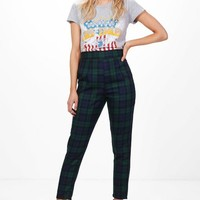 Petite Louise High Waisted Check Tapered Trouser | Boohoo