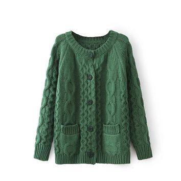 Magic Pieces Woman's Braid Knit Cardigan with Pockets 080873 Color Dark green
