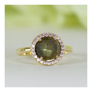 Halo Natural Labradorite and Cubic Zirconia Ring in Gold-Plated Sterling Silver