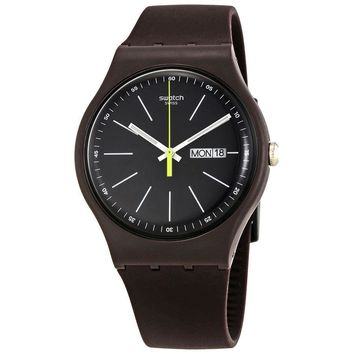 Swatch Blue Browny Black Dial Mens Silicone Watch SUOC704