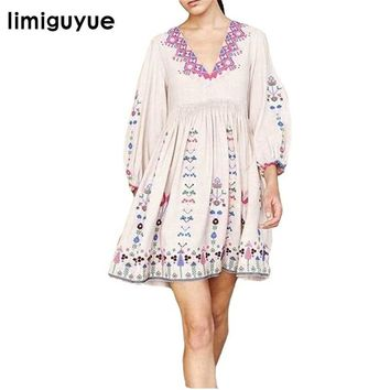 limiguyue bohemian people mexican embroidery dresses women white black floral embroidery boho hippie chic party dress Z0362