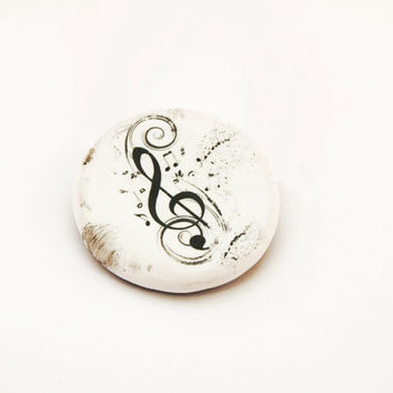 Music Polymer Clay Brooch, Black and White Treble Clef Jewels