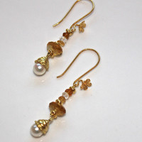 Upcycled Eco Jewelry Pearl Earrings Citrine Bali Gold Vermeil Dangle Earrings Handcrafted Gemstone Jewelry November Birthstone